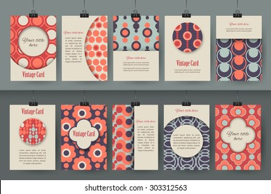 Set of creative vintage card templates