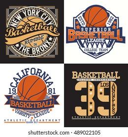 Set of Creative vintage t-shirt graphic designs,  grange print stamps, basketball typography emblems, sports logos, Vector