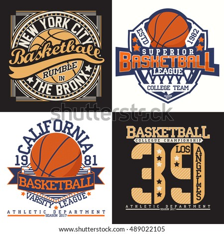 Set Of Creative Vintage T Shirt Graphic Designs Grange Print Stamps Basketball Typography