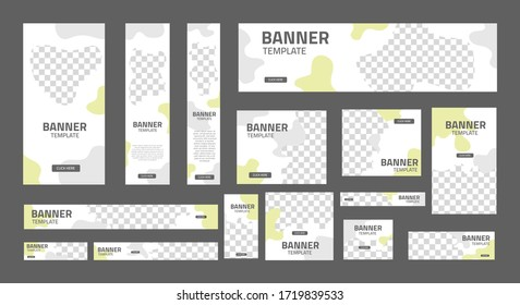 set of creative web banners of standard size with a place for photos. Business ad banner. Vertical horizontal and square template. Vector Illustration EPS 10