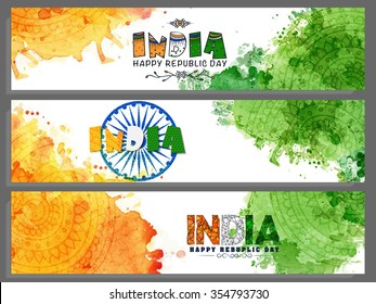 Set of creative website headers or banners with saffron and green colours splash for Happy Indian Republic Day celebration.