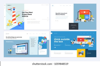 Set of creative website template designs. Vector illustration concepts for website and mobile website design and development, business apps, marketing, graphic design, social media apps. Easy to edit.