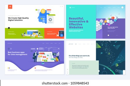Set of creative website template designs. Vector illustration concepts for website and mobile website design and development, SEO, business apps, marketing, time and project management. Easy to edit .