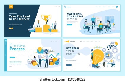 Set of creative website template designs. Vector illustration concepts of web page design for website and mobile website development. Easy to edit and customize.