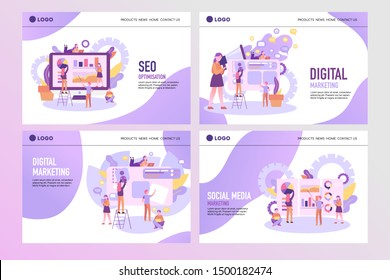 Set of creative website template designs. People team work together. Concept for website and mobile website design and development, business apps, marketing, social media apps.