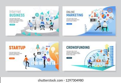 Set of creative website templates for internet business, flat vector illustration