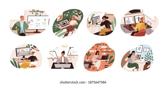 Set of creative workers working at computers and laptops. UI and motion designer, art director, game developer, illustrator, video editor. Color flat vector illustration isolated on white background