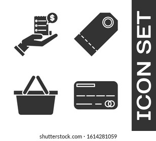 Set Credit card, Human hand holding with blank receipt or bill for payment, Shopping basket and Blank label template price tag icon. Vector