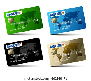 set credit cards isolated on white background