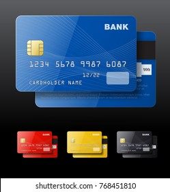 Set of credit cards isolated on black background. Vector illustration. Can be use for template your design, promo, adv.