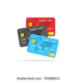 Set of Credit Cards isolated. Vector illustration. Colored bank credit cards in flat design.