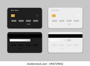 Set credit (debit) black and white card mockup in flat style. Credit card templates design for presentation. Flat credit cards isolated on gray background. Vector illustration. EPS10