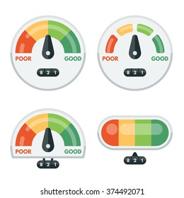 Set of credit score indicators and gauges. Measurement level, display pressure, minimum and maximum vector illustration