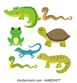 Set of creeping things. Wild animals. Vector illustration