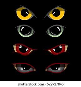 Set of creepy eyes, vectro illustration