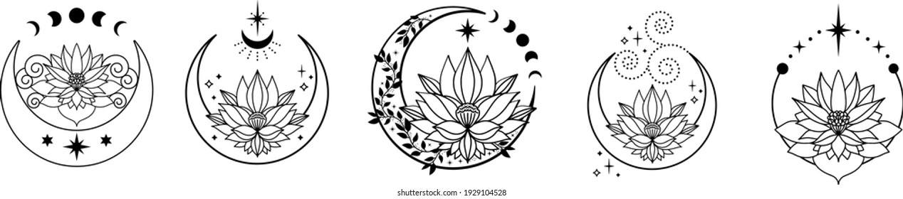 Set of Crescent moons with lotus flower, Flower Moon, Floral magic celestial clipart, Blooming Lotus Moon with Stars, Moon Phases - Shutterstock ID 1929104528