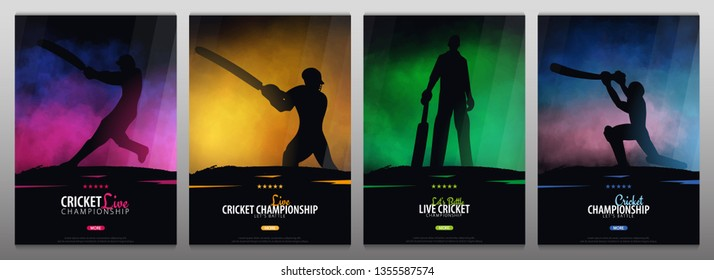Set of Cricket Championship banners or posters, design with players and bats. Vector illustration.