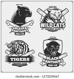 Set of cricket emblems, badges, logos and labels with tiger, panther and wildcat. Print design for t-shirt.