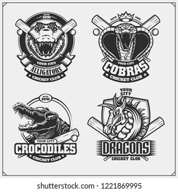 Set of cricket emblems, badges, logos and labels with cobra, crocodile and dragon.