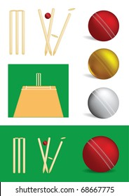 Set of cricket game objects - vector illustrations