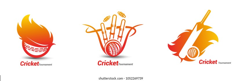 Set of cricket icon, bat, ball and stumps, sports, vector illustration