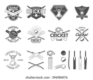 Set of cricket logo templates. Sports emblems and equipment elements. Easy to create own badge. Use for tee designs, web or t-shirt. Monochrome style, isolated on white background