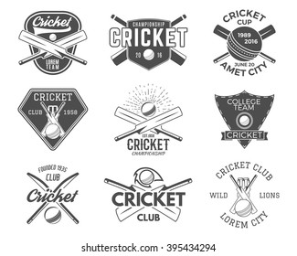 Set of cricket sports logo templates with different accessories - ball, bat. Use as icons, badges, tee designs or print on t-shirt Vector illustration.