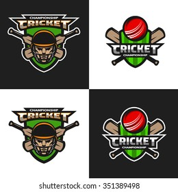 Set of  cricket sports logos, emblem. The dark and light background.