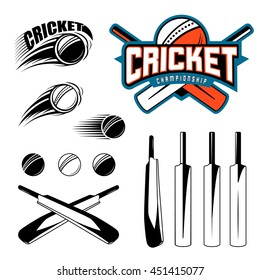 Set of cricket sports template logo elements - ball, bat. Use as icons, badges, label designs or print. Vector illustration sport championship