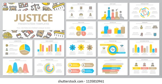Set of crime, law, police and justice elements for multipurpose presentation template slides with graphs and charts. Leaflet, corporate report, marketing, advertising, book cover design.