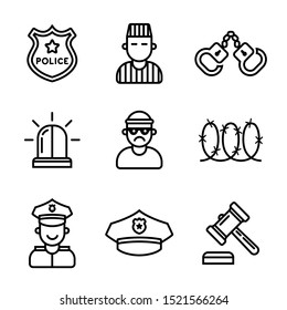 set of crime and punishment icons. policeman and criminal. Flat vector illustration.