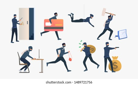 Set of criminals robbing flats. Car burglary, thieves, criminals wearing black clothes. Crime concept. Vector illustration for webpage, landing page