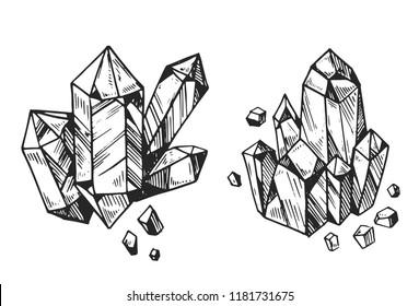 Set of cristals.  Hand drawn vector illustration