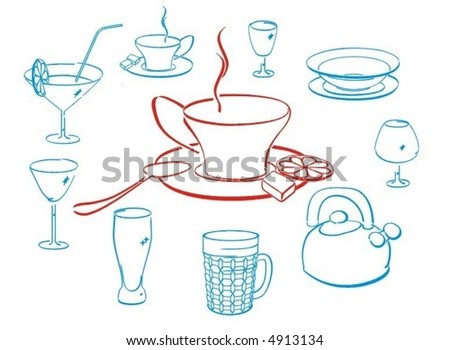 Set Crockery Kitchen Things Elements Service Stock Vector Royalty