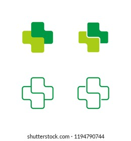 Set of Cross Logo vector for health care, hospital, clinic, and more