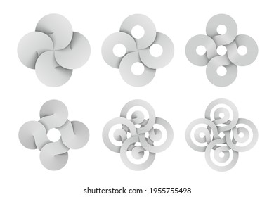 Set of cross signs made of four connected disks and rings made of different types intersection. Modern stylization of Bowen knot symbol. Vector illustration isolated on a white background.