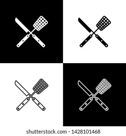Set Crossed fork and knife icons isolated on black and white background. BBQ fork and knife sign. Barbecue and grill tools. Vector Illustration