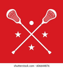 A set of crossed lacrosse sticks in vector format over a red background.