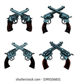 Set of crossed revolvers on white background. Design elements for poster, emblem, sign. Vector illustration