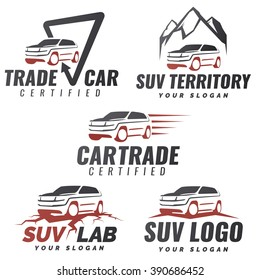 Set of crossover SUV car service logo templates. Automotive repair and service theme concept. Rental Car Logo Template Vector. Isolated modern suv front and side view. Off-road vehicle illustration.