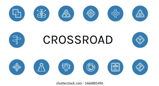 Set of crossroad icons such as Intersect, Decision, Intersection, Junction, Direction, Road, Confused, Roundabout, Highway, Crossroads, Directions , crossroad