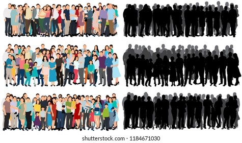 set of a crowd of people flat style, silhouette of a crowd