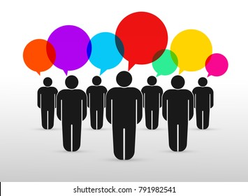 Set of crowd of working people with colorful speech bubbles. Flat cute miniature about teamwork and partnership. For business design and infographic. Vector illustration. Isolated on white background