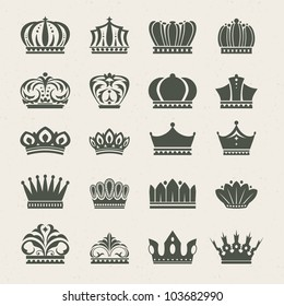 Set of crown icons