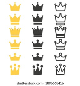 Set of Crown icons. Vector illustration in flat design