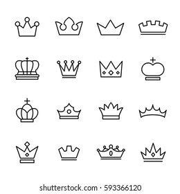 Set of crown in modern thin line style. High quality black outline  symbols for web site design and mobile apps. Simple linear crown pictograms on a white background.
