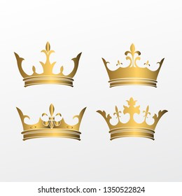 set of crown symbol with golden royal jewelry. isolated on white background. - vector