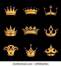 set of crown symbol with golden royal jewelry. isolated on black background. Vector