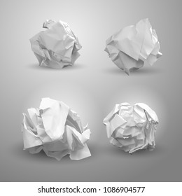 Set of crumpled paper ball. For business concept, banner, web site and other. Crumpled paper was after brainstorming. Vector illustration. Isolated on gray background