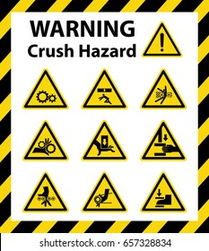 Set of crush hazard sign on yellow background. Symbol, illustration